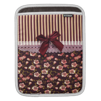 Cute Pink and Brown Vintage Flowers Sleeves For iPads