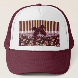 Cute Pink and Brown Vintage Flowers Trucker Hat