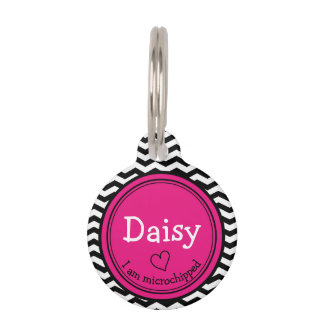 Cute Pink and Chevron Personalized Pet Tag