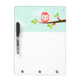Cute Pink and Coral Owl on a Branch Dry-Erase Board