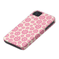 Cute pink and cream whimsical flower pattern case iPhone 4 Case-Mate cases