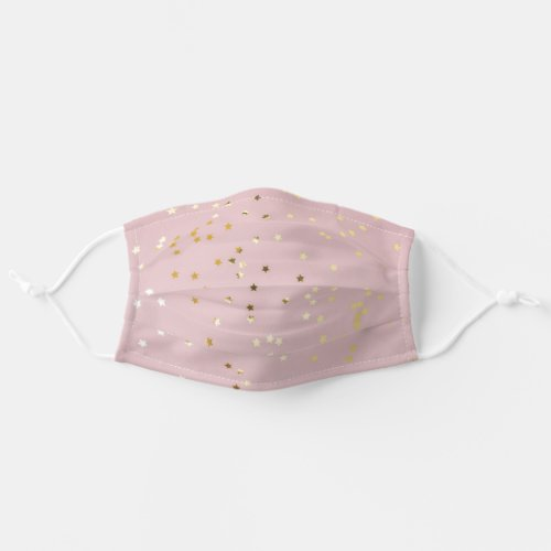 Cute Pink And Gold Confetti Stars Cloth Face Mask