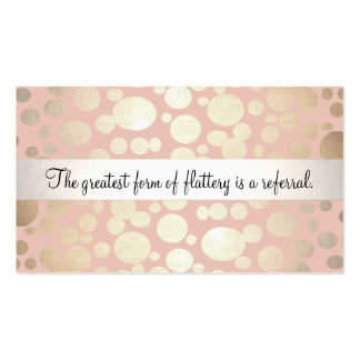 Cute Pink and Gold Cosmetology Referral Card Double-Sided Standard Business Cards (Pack Of 100)
