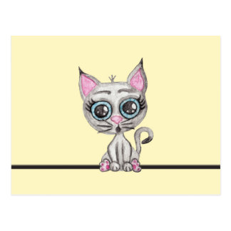 Cute Pink and Gray Watercolor Kitty Cat on Yellow Postcard