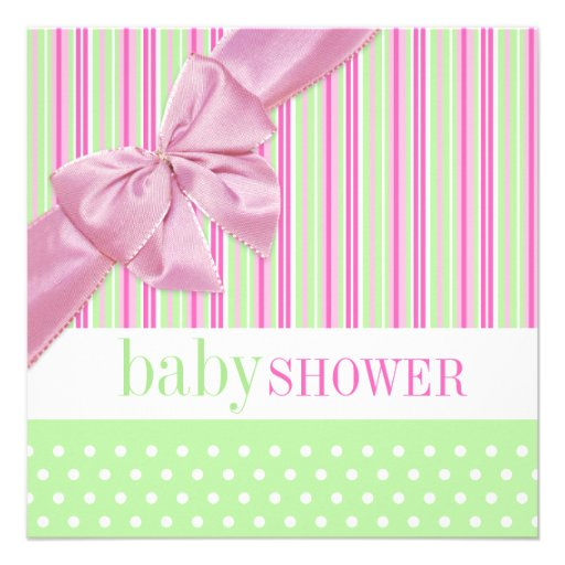 cute pink and green baby shower invitation square invitation