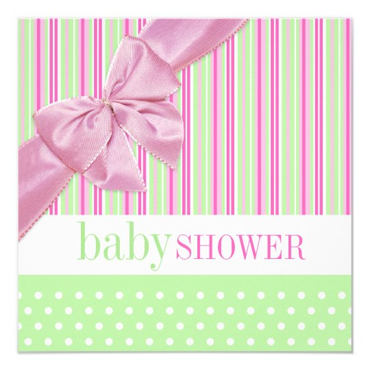 Cute Pink and Green Baby Shower invitation