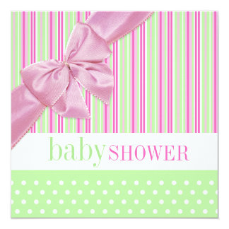 Cute Pink and Green - Baby Shower invitation