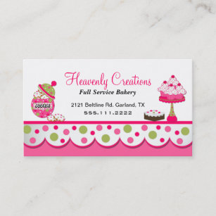 Bakery business cards 5200 bakery business card templates cute pink and green bakery business card reheart Gallery
