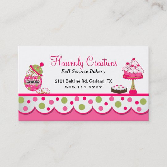 cute pink and green bakery business card - Bakery Business Cards