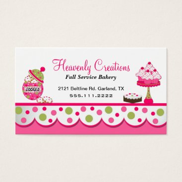 Professional Business Cute Pink and Green Bakery Business Card