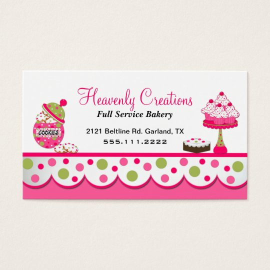 Cute pink and green bakery business card zazzle cute pink and green bakery business card reheart Images