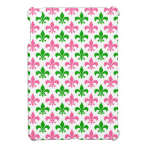 Cute Pink and Green Fleur de Lis iPad Case