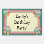 Cute Pink and Green Ice Cream Birthday Party Yard Sign