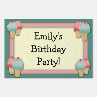 Cute Pink and Green Ice Cream Birthday Party Lawn Sign