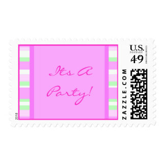 Cute Pink and Green Postage Stamp