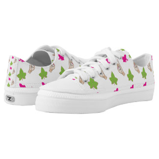 Cute Pink and Green with pink frog and ivy Printed Shoes