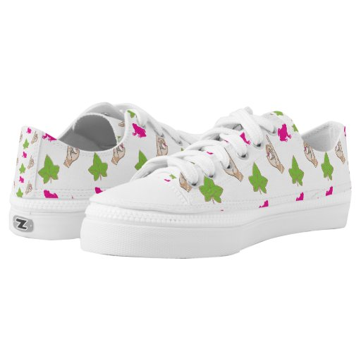 pink and green with pink frog and printed shoes