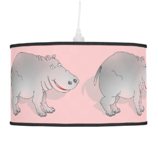Cute pink and grey hippo hanging lamp