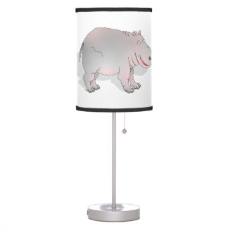 Cute pink and grey hippo table lamp