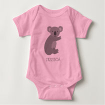 Cute pink and grey koala bear girls baby clothes baby bodysuit