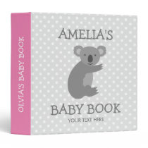 Cute pink and grey koala bear new baby binder