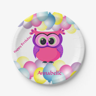 Cute pink and lilac baby owl paper plate