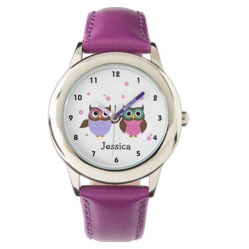 Cute Pink and Mauve Owls Personalized Girls Wristwatch