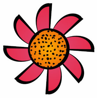 Cute Pink and Orange Flower Magnet