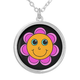 Cute Pink and Orange Flower Smiley Face Silver Plated Necklace
