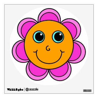 Cute Pink and Orange Flower Smiley Face Wall Decal
