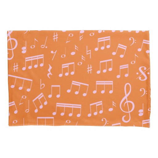 Cute Pink and Orange Music Notes Pattern Pillow Case