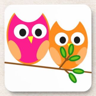 Cute Pink and Orange Owls in Tree Beverage Coaster