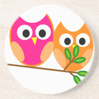Cute Pink and Orange Owls in Tree Coaster