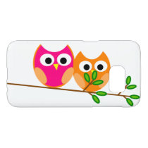 Cute Pink and Orange Owls on Tree Branch Samsung Galaxy S7 Case