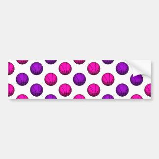 Cute Pink and Purple Basketball Pattern Bumper Sticker