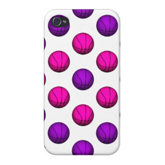 Cute Pink and Purple Basketball Pattern iPhone 4/4S Cover