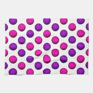 Cute Pink and Purple Basketball Pattern Kitchen Towels
