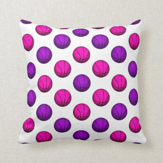 Cute Pink and Purple Basketball Pattern Throw Pillow