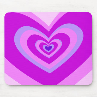 Cute Pink And Purple Concentric Heart Mouse Pad