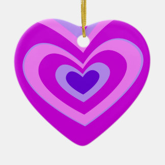 Cute Pink And Purple Concentric Heart Double-Sided Heart Ceramic Christmas Ornament