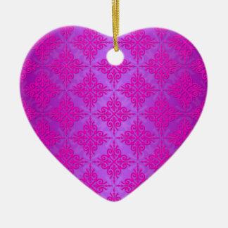 Cute Pink and Purple Damask Pattern Ceramic Ornament