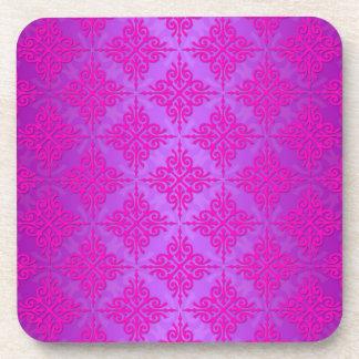Cute Pink and Purple Damask Pattern Coaster