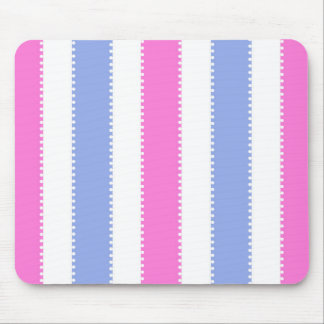 Cute Pink and Purple Dots and Stripes Mouse Pad