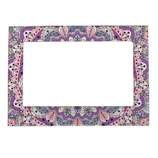 Cute pink and purple floral mandala magnetic photo frame