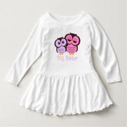 Cute Pink and Purple Owls Big Sister Dress