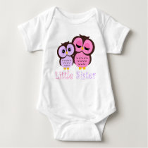 Cute Pink and Purple Owls Little Sister Baby Bodysuit