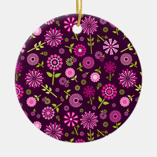 Cute pink and purple spring flowers ceramic ornament