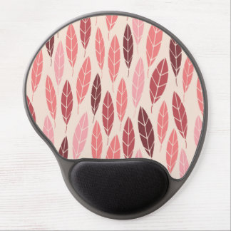 Cute pink and red leaves pattern gel mouse pad