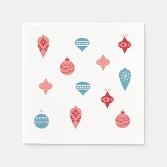 Cute Pink and Teal Holiday Ornament Party Napkins Disposable Napkin