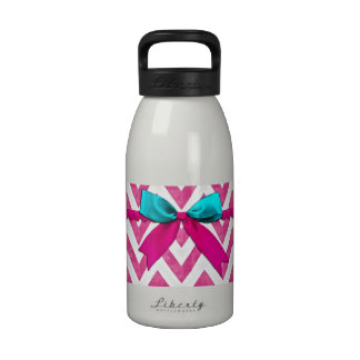 Cute Pink and Teal ZigZag Bow Water Bottles